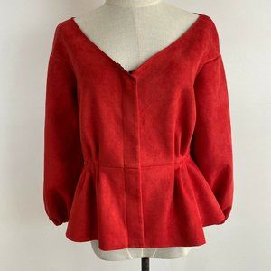 BoBa BaBe Womens Faux Suede Peplum Jacket Size 12